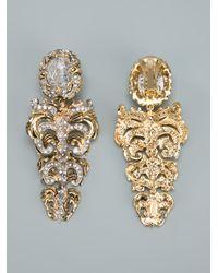 Roberto Cavalli | Metallic Crystal Drop Earrrings | Lyst