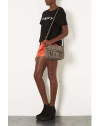 TOPSHOP - Natural Leopard Edge Paint Satchel - Lyst