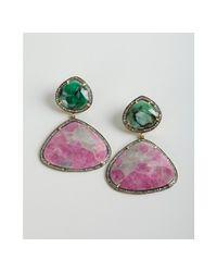 Amrapali - Pink Sapphire Emerald and Diamond Drop Earrings - Lyst