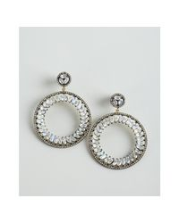 Amrapali | Metallic Moonstone and Diamond Hoop Drop Earrings | Lyst