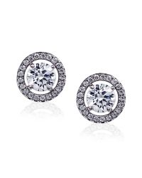 Carat* | White Round Border Set Studs | Lyst