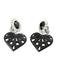 Holly Fulton | Baroque Crystal Top Earrings with Heart Pendant Black | Lyst