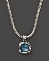 "John Hardy - Metallic Sterling Silver Classic Chain Small Square Pendant Necklace With London Blue Topaz, 18"" - Lyst"