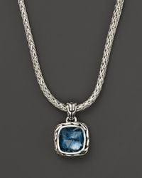 John Hardy | Metallic Sterling Silver Classic Chain Small Square Pendant Necklace With London Blue Topaz, 18"