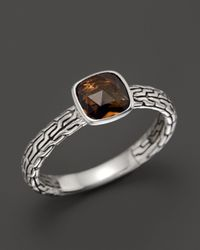 John Hardy | Brown Sterling Silver Classic Chain Small Square Station Ring With Cognac Quartz | Lyst