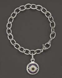 Judith Ripka - Metallic Sterling Silver Evil Eye Charm Bracelet With Black And White Sapphires And Amethyst - Lyst