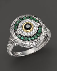 Judith Ripka | Metallic Sterling Silver Evil Eye Ring with Black and White Sapphires and Green Quartz | Lyst