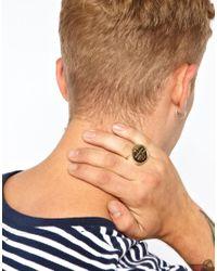 ASOS - Metallic Signet Ring with Cross for Men - Lyst