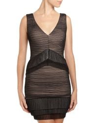 BCBGMAXAZRIA - Brown Sven Shirred Mesh Dress Large - Lyst