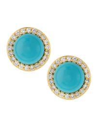 Belargo - Blue Turquoise Cz Stud Earrings - Lyst