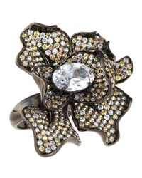 CZ by Kenneth Jay Lane - Black Pave Cubic Zirconia Flower Ring Size 7 - Lyst