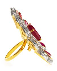 CZ by Kenneth Jay Lane - Red Raja Ruby Clear Cubic Zirconia Flower Ring - Lyst