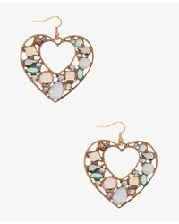 Forever 21 - Multicolor Bejeweled Heart Earrings - Lyst