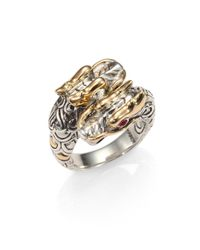 John Hardy | Metallic Naga Ruby, 18k Yellow Gold & Sterling Silver Double Dragon Ring | Lyst
