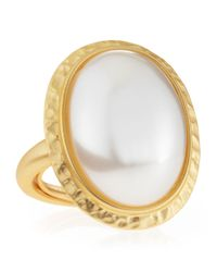 Kenneth Jay Lane | White Oval Pearlybead Adjustable Ring | Lyst