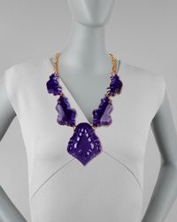 Oscar de la Renta Purple Resin Chandelier Necklace