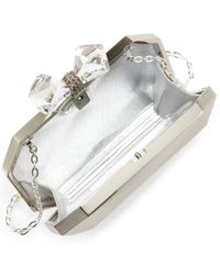Overture Judith Leiber Natural Danielle Faceted Metal Bow Clutch Silver