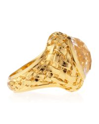 Slane - Metallic Crystal Quartz Basket-Weave Medium Ring - Lyst