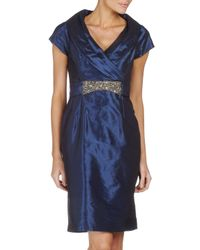 Teri Jon - Natural Jewelbelt Taffeta Cocktail Dress - Lyst
