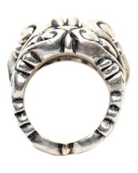 Duffy - Metallic Sterling Silver Ornate Skull Ring - Lyst