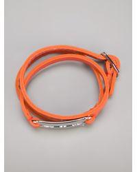 McQ - Metallic Leather Razor Bracelet - Lyst