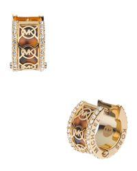 Michael Kors - Metallic Monogram Pave Huggie Earrings  - Lyst