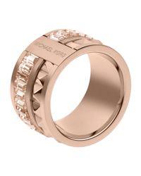 Michael Kors - Pink Pyramid Baguette Ring Rose Golden - Lyst