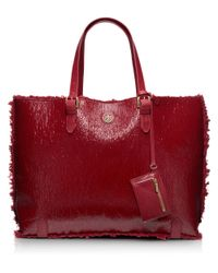 Tory Burch Red Patent Shearling Tote
