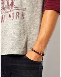 ASOS - Brown Bracelet with Wooden Beads for Men - Lyst