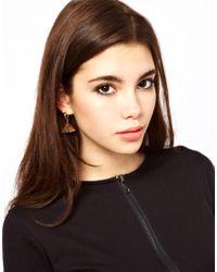 ASOS - Metallic 3d Triangle Earrings - Lyst