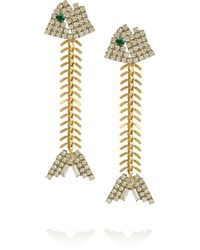 Elizabeth Cole - Metallic 24karat Goldplated Swarovski Crystal Fishbone Earrings - Lyst