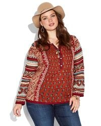Lucky Brand   Red Annabeth Mixed Print Top   Lyst