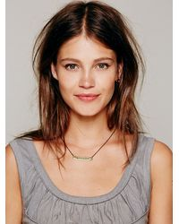 Free People - Metallic Etched Plate Necklace - Lyst