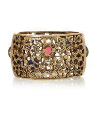 Oscar de la Renta - Metallic Beaded Lattice Bracelet - Lyst