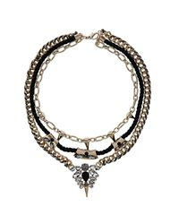 TOPSHOP - Metallic Gold Spike and Chain Multi Row Necklace - Lyst