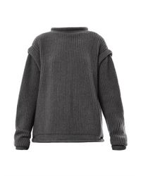 Christopher Kane | Gray Ribbed-knit Cashmere Buckle Cardigan | Lyst