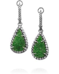 Kimberly Mcdonald | Green 18karat Blackened White Gold Uvarovite Garnet and Diamond Earrings | Lyst