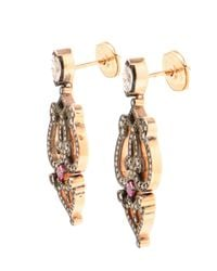 Sabine G | Pink 18k Rose Gold, Ruby And Diamond Earrings | Lyst