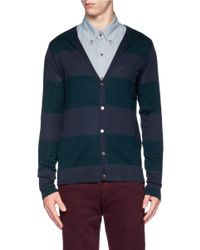 Scotch & Soda | Blue Striped Merino Wool Cardigan for Men | Lyst