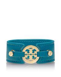 Tory Burch - Blue Skinny Logo Double Snap Cuff - Lyst