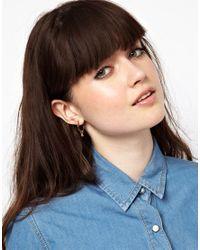 ASOS | Metallic Pack Of Three Of Mini Shape Hoop Earrings | Lyst