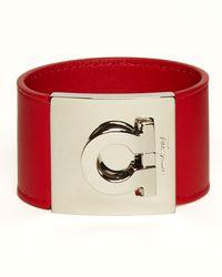 Ferragamo | Red Leather Gancini Cuff | Lyst