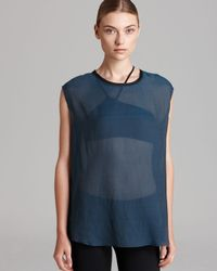 Helmut Lang - Blue Top Gliss Slouchy Crewneck - Lyst