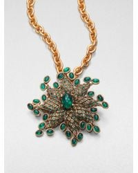 Oscar de la Renta | Green Starburst Convertible Pendant Necklace Brooch | Lyst