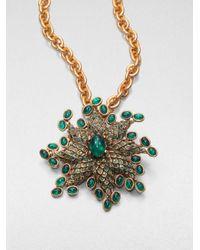 Oscar de la Renta - Green Starburst Convertible Pendant Necklace Brooch - Lyst