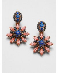 Oscar de la Renta | Multicolor Starburst Clipon Drop Earrings | Lyst