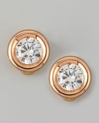 Roberto Coin - Pink 18k Rose Gold Diamond Solitaire Stud Earrings - Lyst
