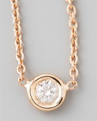 Roberto Coin | Pink 18k Rose Gold Single Diamond Necklace | Lyst