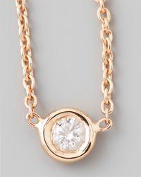 Roberto Coin | Purple 18K Rose Gold Single Diamond Necklace | Lyst