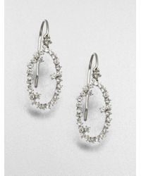 KALAN by Suzanne Kalan | White Sapphire & 14K White Gold Starburst Oval Drop Earrings | Lyst